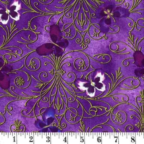 AE484 Pansy Noir - Purple Butterfly Scroll