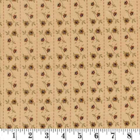 AE497 Pauline Medallion - Tan Floral Stripe