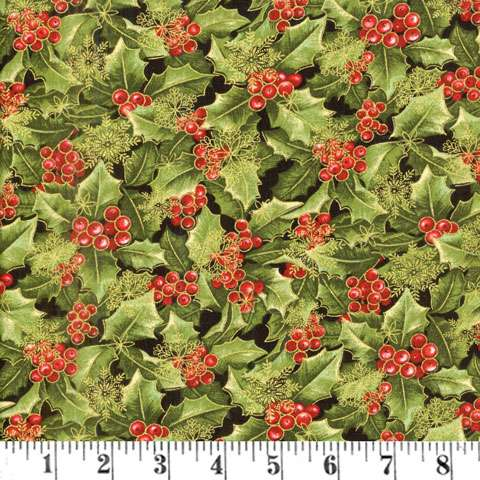 AE560 Festive Season - Green Holly Allover