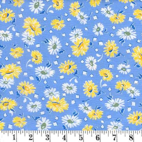 AE568 Sunshine Garden - Yellow & White Daisies on Blue