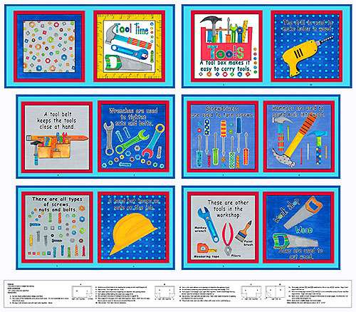 AE643 Tool Time - Book Panel 90cm