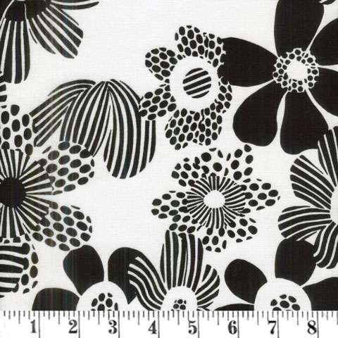 AE719 Groovy - White & Black Flowers