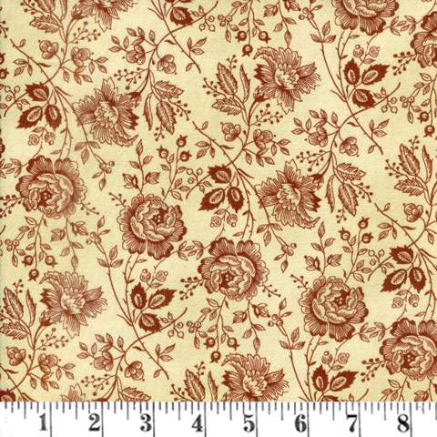 AE728 Extra Wide Backing - Tan/Red Flowers
