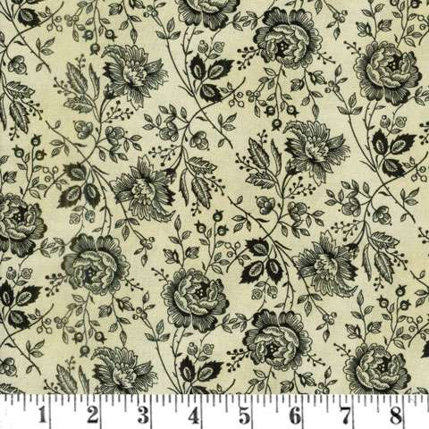 AE729 Extra Wide Backing - Tan/Black Flowers