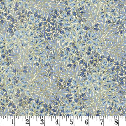 AE964 Morris Holiday Metallic - Foliage - Linen/Indigo