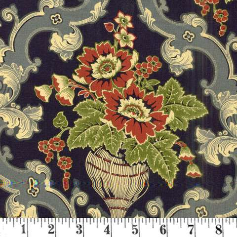 AF049 Cambridge - floral on navy preview