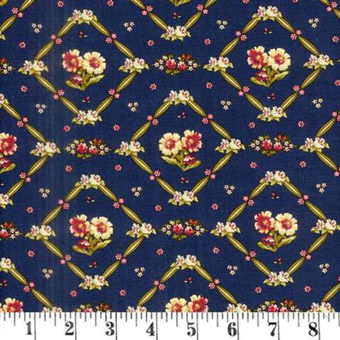 AF170 Bricolage - navy floral trellis preview