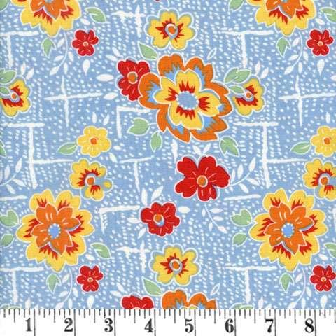 AF178 Lemonade Sundae - blue large floral preview