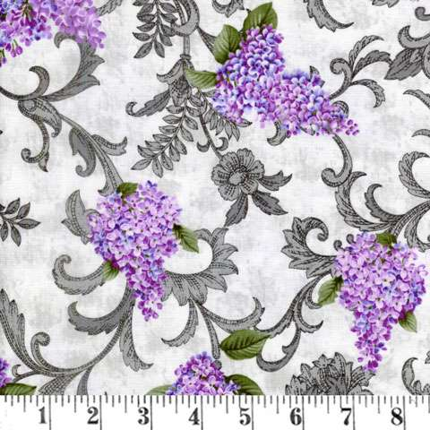AF292 Lilacs In Bloom - Light Grey Vine Scroll preview