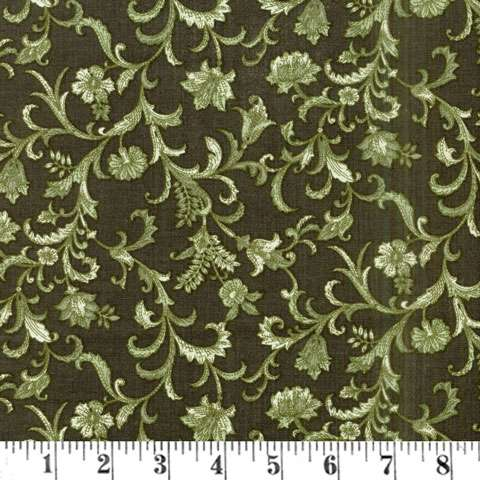 AF294 Lilacs In Bloom - Green Vine Scroll preview