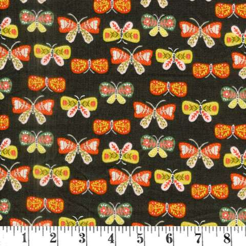 AF341 Glorious Garden - Butterflies on Brown preview