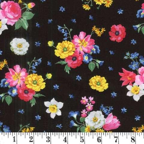 AF343 Afternoon Picnic - Floral Posies on Black preview