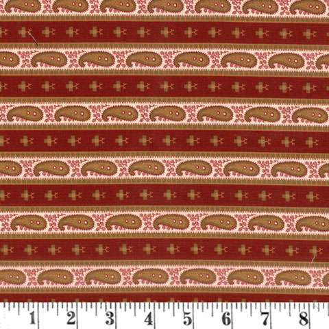 AF456 French Paisley - Red Paisly Stripe preview