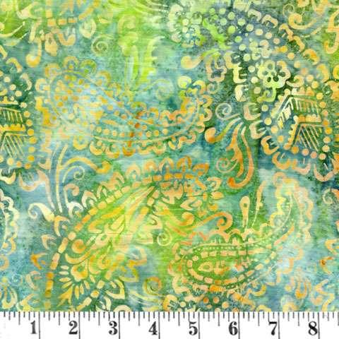 AF471 Batik - Green/Gold Paisley preview