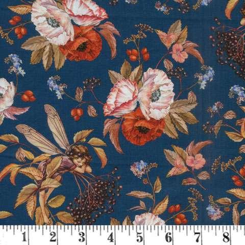 AG412 Elderberry Flower Fairies - Digitally Printed Navy Floral & Fairies preview