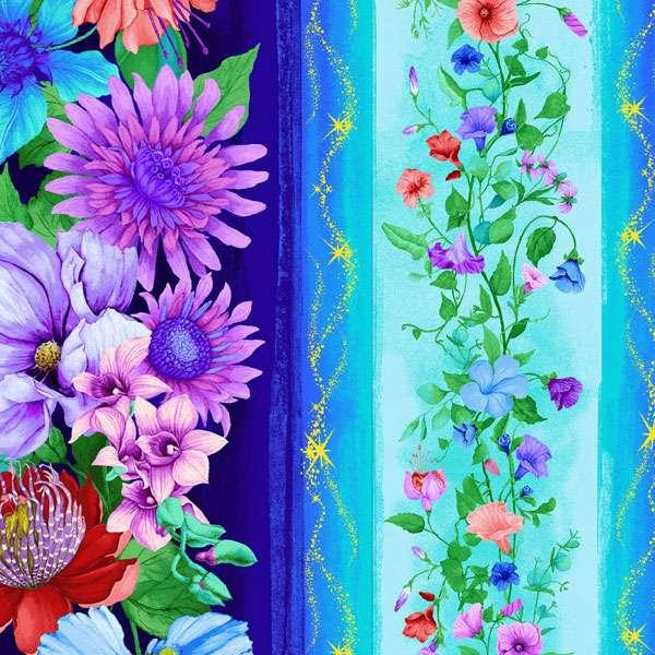 AG418 Fairy Fantasy - Aqua Floral Stripe preview