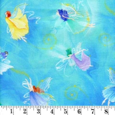 AG419 Fairy Fantasy - Aqua Allover Fairies preview