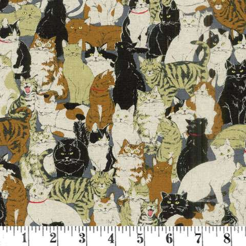 AG509 Nyao - All Over Cats - Linen preview