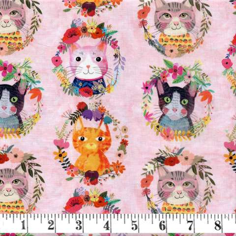 AG672 Floral Pets - Allover Cats preview