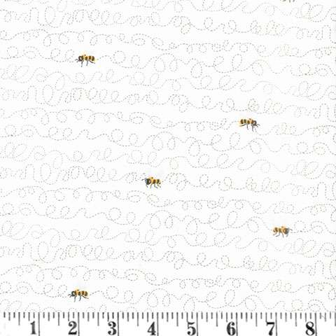 AG899 Sunny Bee - Bees on White in motion preview
