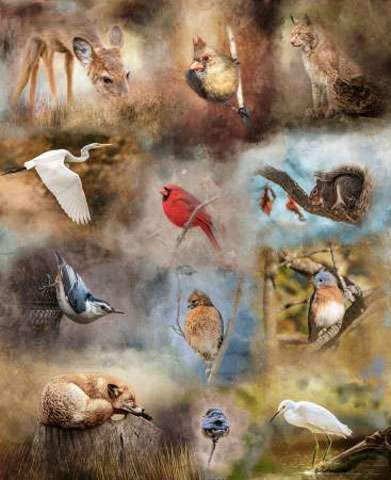 AH099 Nestled in Nature - Fauna Animal Planet - Panel 90cm preview