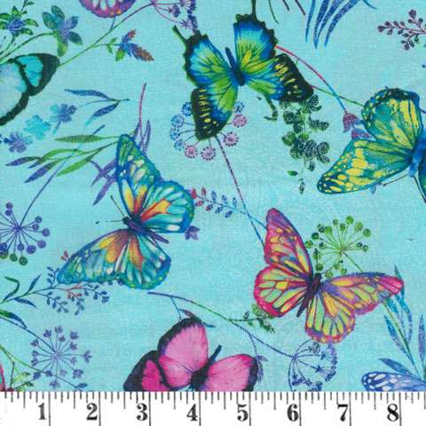 AH252 Butterfly Paradise - Scattered Butterflies on Light Blue preview