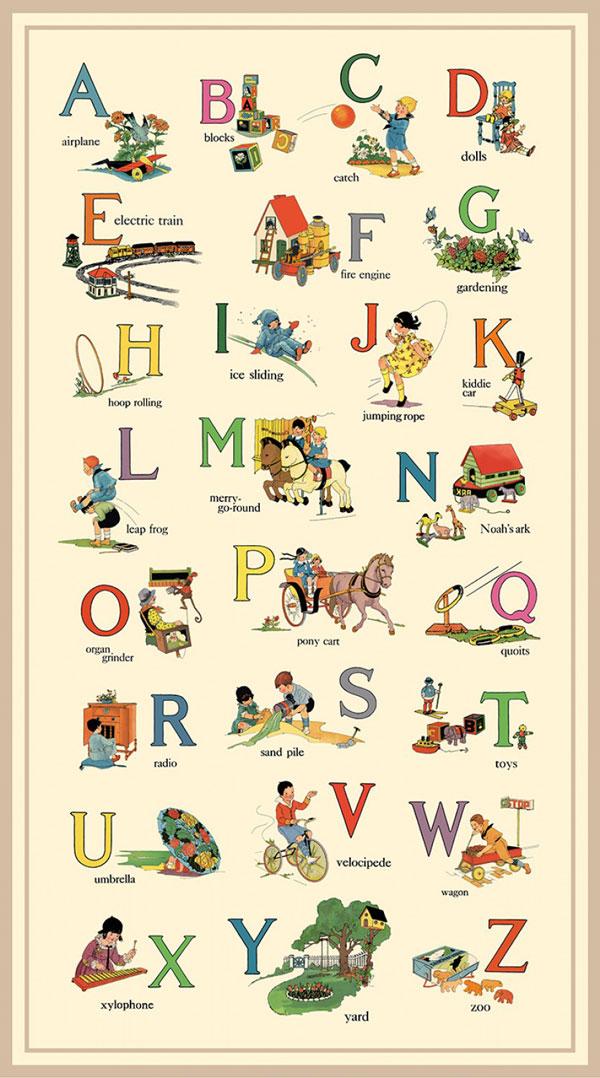 AH661 Vintage Treasures - Alphabet List Panel 60cm preview