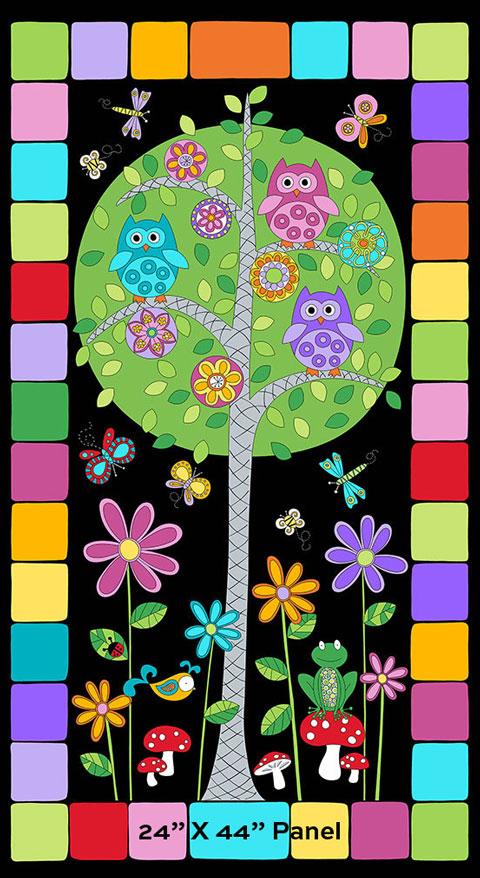 AJ021 Hoot Hoot - Family Tree Panel - Night 60cm preview