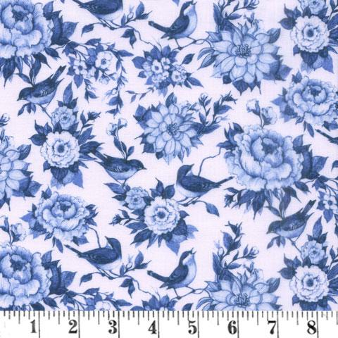 AJ073 Chinoiserie - Blue Floral - Blue Bird preview