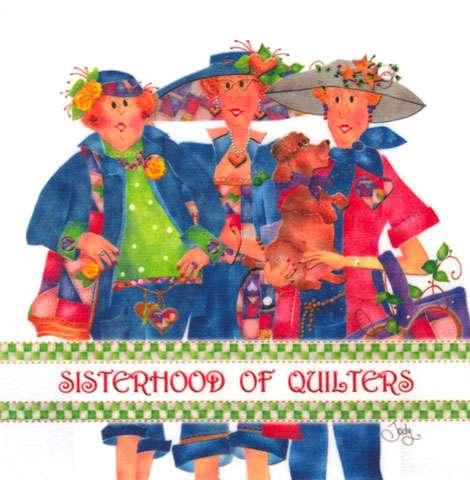 Sisterhood of Quilters Fabric Art Panel (6in x 6in)