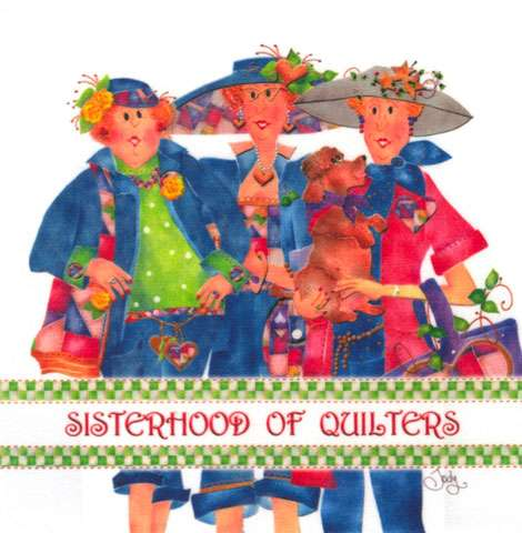 Sisterhood of Quilters Fabric Art Panel (6in x 6in)