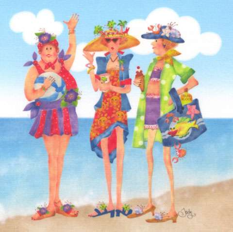 Beach Fabric Art Panel (6in x 6in) preview