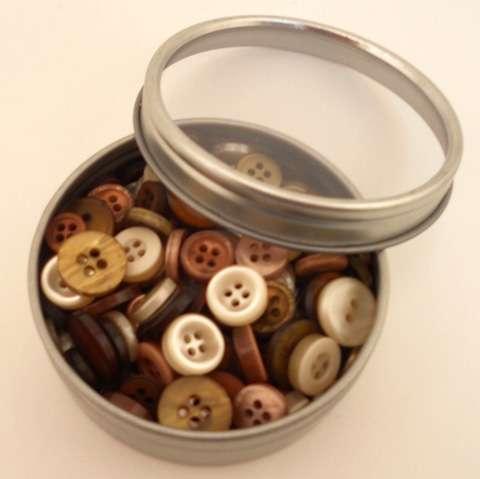 Haberdashery Button Tins - Earth