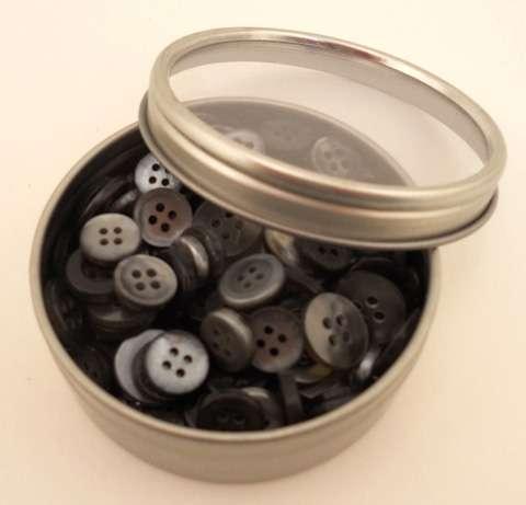 Haberdashery Button Tins - Smoke