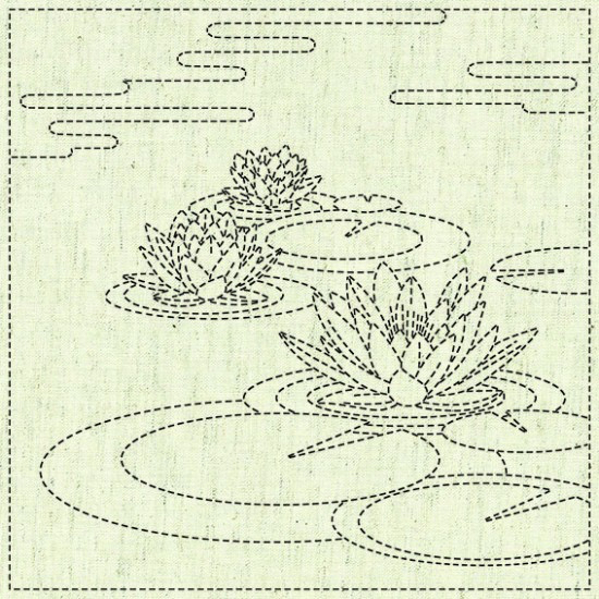Water Lily Sashiko Block - Natural preview