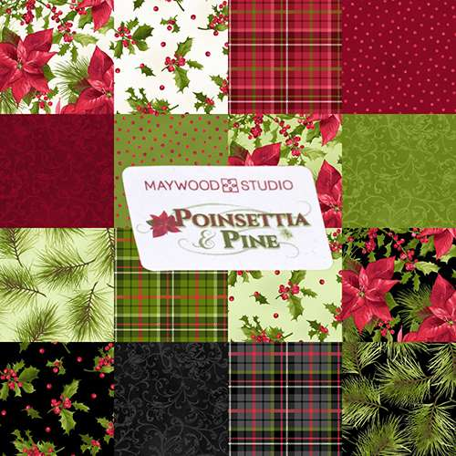 "Poinsettia & Pine 10"" Squares (Layer Cake)"