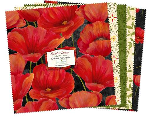 "Scarlet Dance 10"" Squares Pack (24 pieces) - Half Layer Cake"