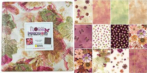 "Floral Impressions Rose 10"" Squares (Layer Cake)"