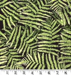 H177 Kiwiana - ferns on black