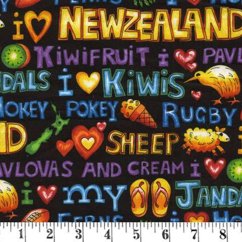 J896 Kiwiana - I Love New Zealand - brights on black