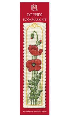 Poppies Bookmark Cross Stitch Kit
