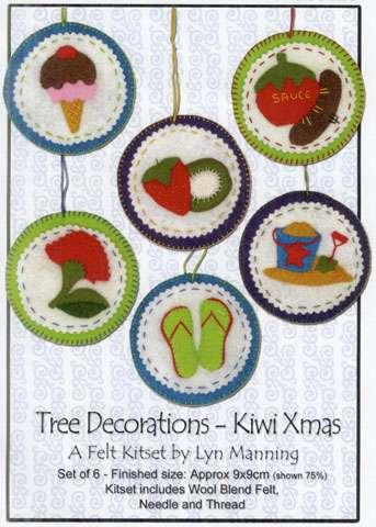 Kiwi Xmas Tree Decorations - Felt Kitset preview