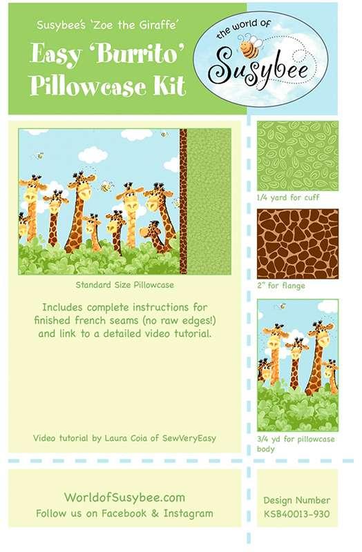 Easy Burrito Pillowcase Kit -  Zoe the Giraffe preview