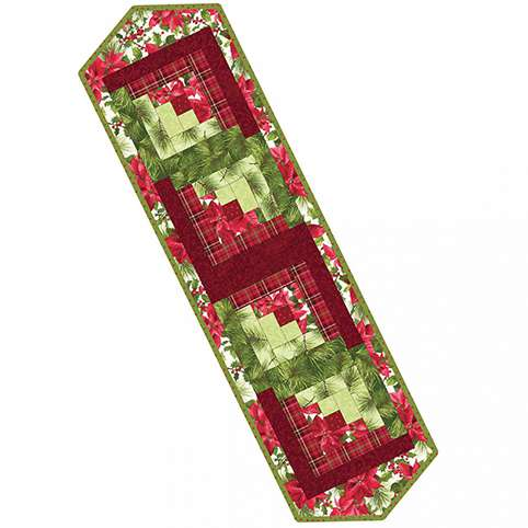 Poinsettia & Pine Log Cabin Table Runner Pod Kitset