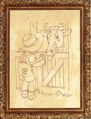 Redwork Kitset - Boy and Cow #342