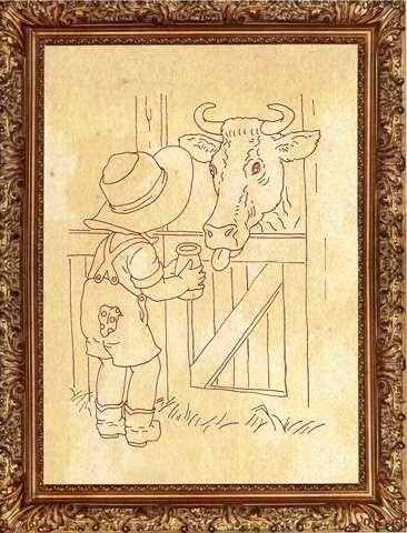 Redwork Kitset - Boy and Cow