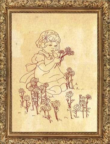 Redwork Kitset - Flower Girl