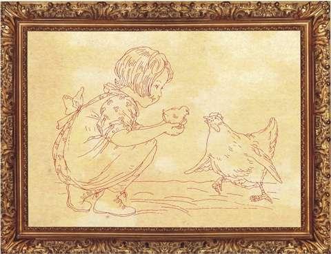 Redwork Kitset - Girl and Chicken