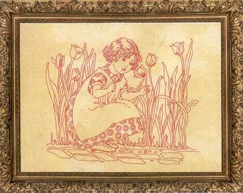 Redwork Kitset - Tulip Girl #301 preview