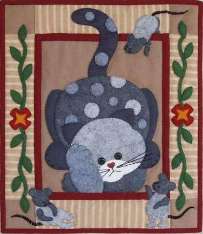 Spotty Cat Wall Quilt Kitset